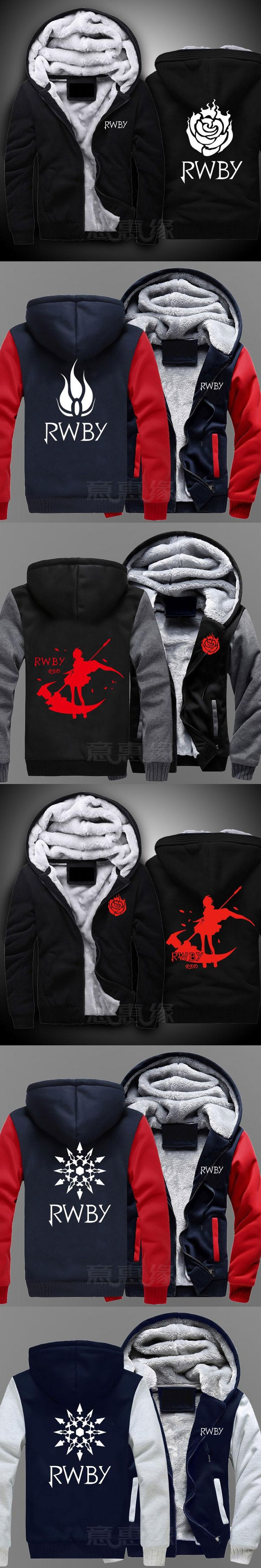 New RWBY Hoodie Ruby Rose Anime Coat Jacket Winter Men Thick Zipper Sweatshirt