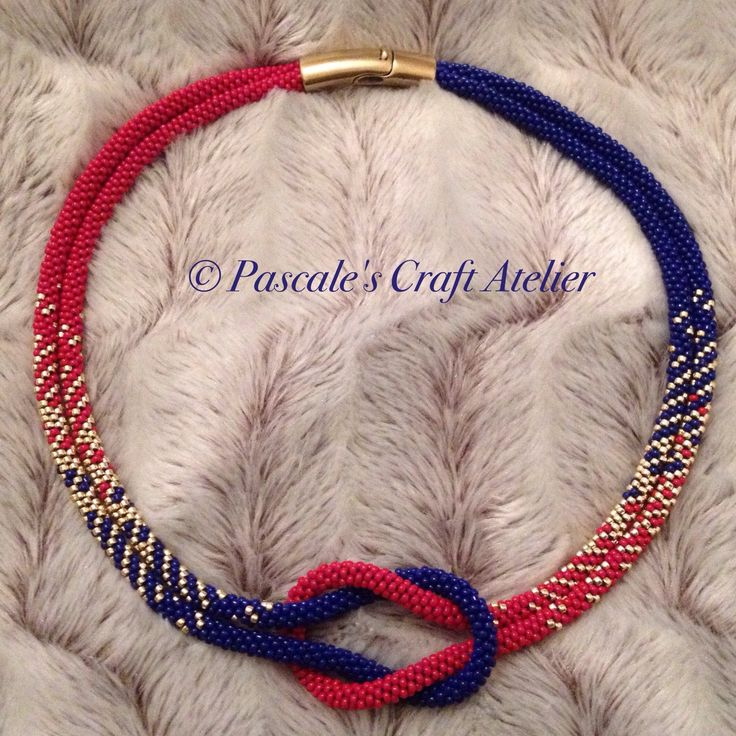 Now in stock ready to be shipped! For all you FCB, FC Basel, FC Barcelona and other red-and-blue teams fans: special Kumihimo love knot necklace in your favourite colours to celebrate your special club! #PascalesCraftAtelier #beadedjewellry #FCB #kumihimo