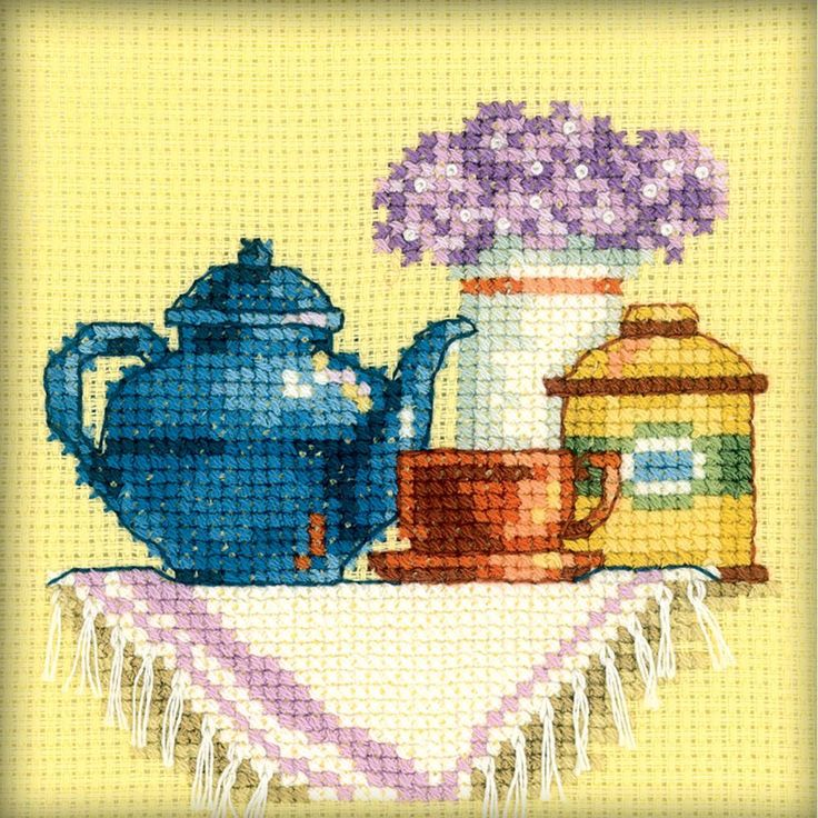 RTO-Counted Cross Stitch Kit. This kit will allow you to create a beautiful tea set design that will make a great decoration for any room of the house once you have completed it. This package contains