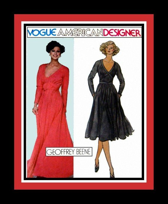 Vintage 1970s- Empire Waist Grecian Goddess Evening Gown-Day Dress-Vogue Designer Sewing Pattern -GEOFFREY BEENE -Uncut -Size 8 -Mega Rare