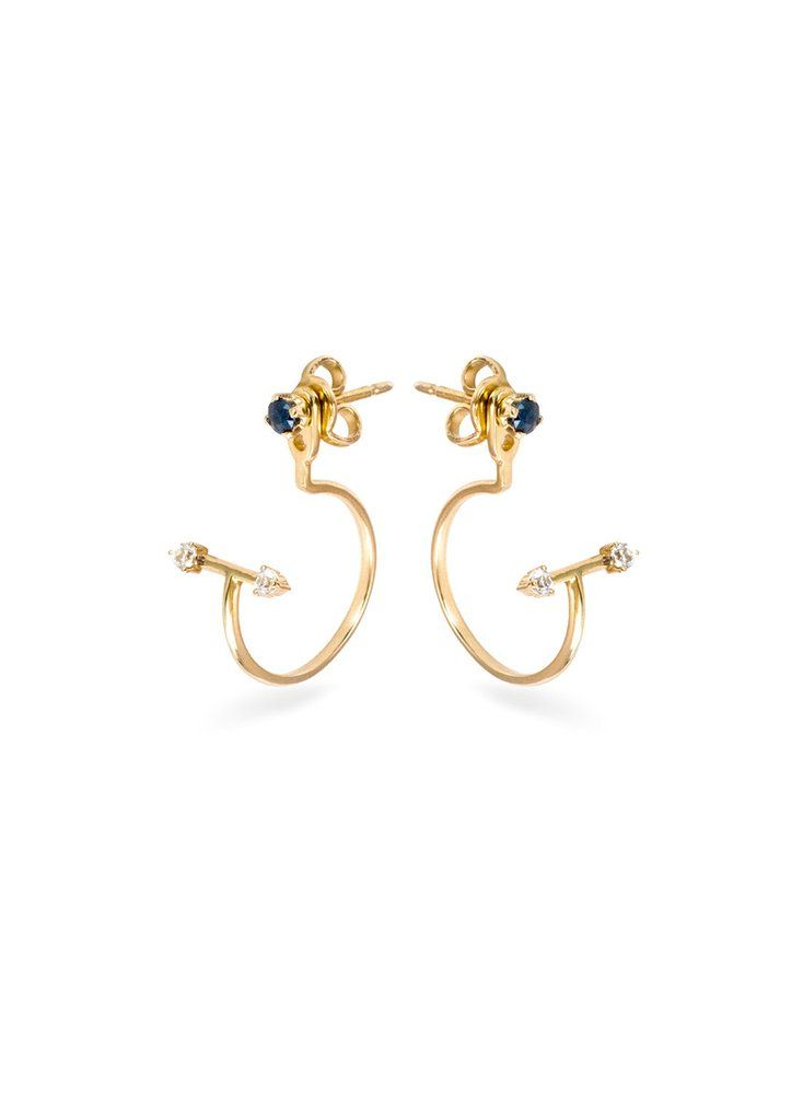 Renversé Hoop Midnight Moon Earrings  18 Karat Yellow Gold With Sapphires