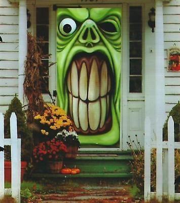 Halloween Green Goblin Door Cover Haunted House Decoration Outdoor Scary Decor