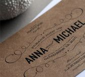 simple wedding invite, black print on brown kraft paper