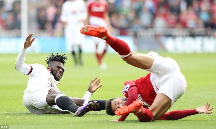 Barragan fouled Watford's Nigerian striker Isaac Success (left) in what appeared to be a yellow-card offence