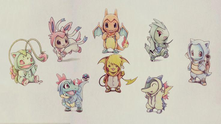 Pokemon Starters In Hoodies Pokemon Pinterest Chibi