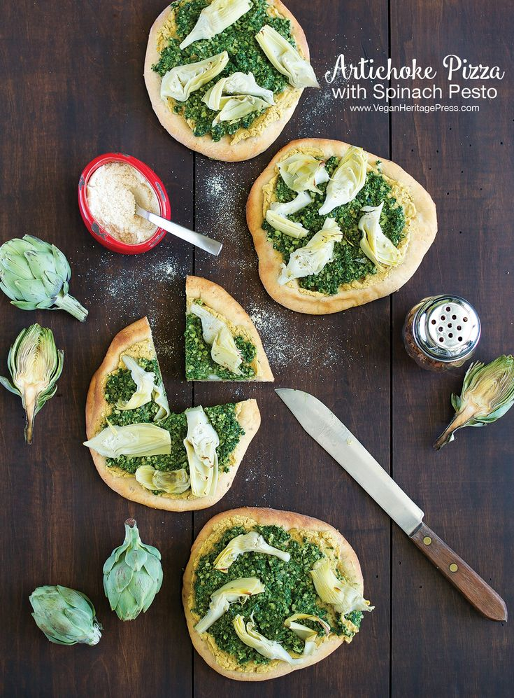 Artichoke Pizza with Spinach Pesto from Cook the Pantry by Robin Robertson