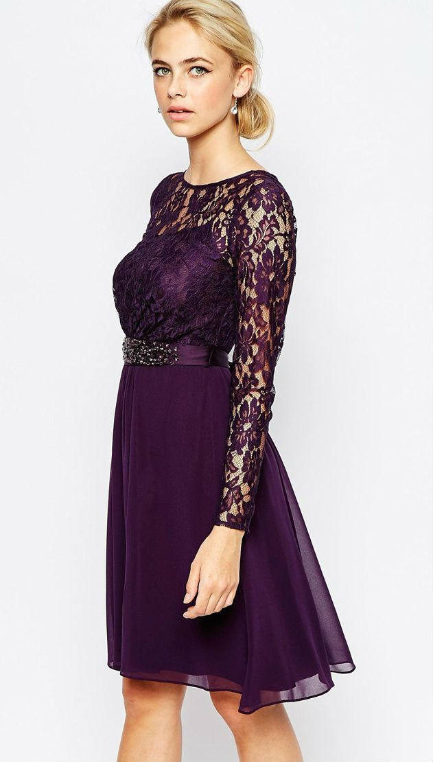 Wedding Guest Dresses Lace : Purple dress dresses with sleeves and for weddings