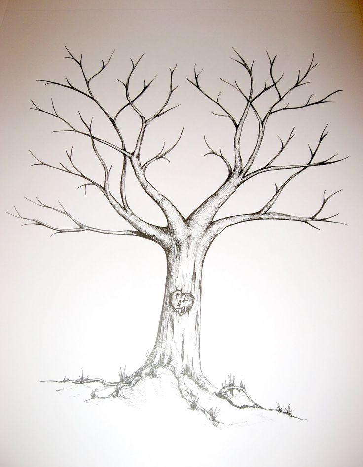 DIY Fingerprint Tree Red String Signature Canvas Painting ...  |Diy Fingerprint Tree