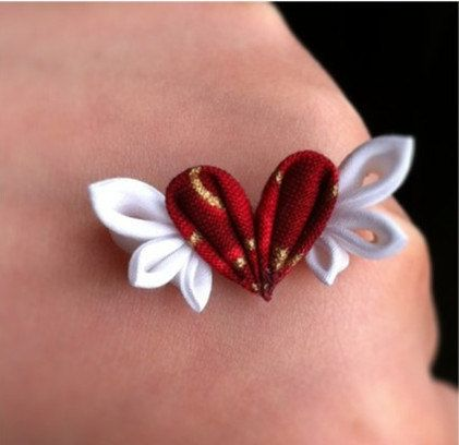 kanzashi flowers Barrette heart with wings both for hunman and BJD. $5.00, via Etsy.