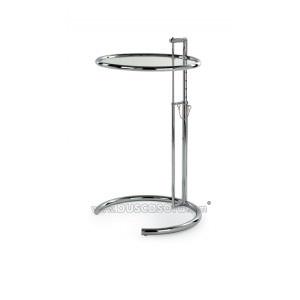 $157 / 119€ Mesa auxiliar redonda de altura regulable modelo NAPOLI, cromada y cristal templado transparente. Diámetro 51 cm. y altura desde 54 hasta 90 cm.