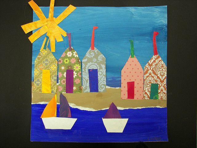 2nd Grade Danny Phillips Beach Huts by Paintbrush Rocket, via Flickr