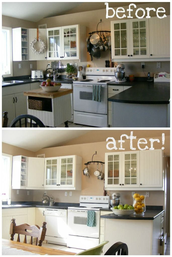 tips for kitchen staging (this lady has documented the process in the other rooms of her house too)