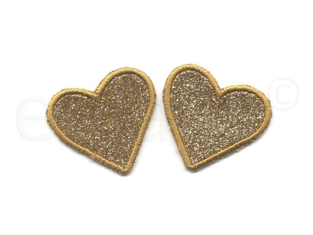 || opstrijk applicatie gouden hart || iron-on applique golden hearts ||