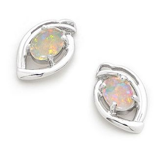 2 stones x Oval Master crafted White Gold Solid Light Opal Earrings, by our  experienced opal jewelers