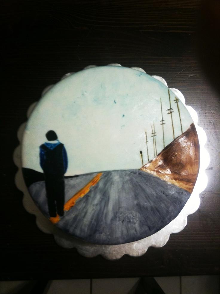 Eminem CD artwork handpainted on fondant-covered cake.