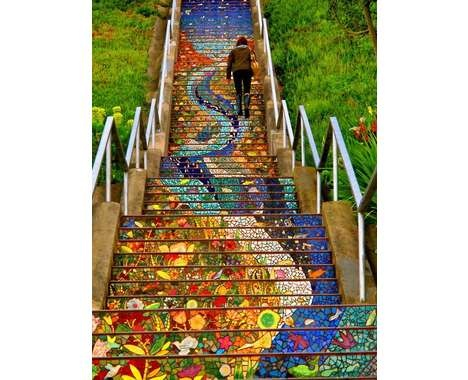 Artistic Mosaic Stairs  The 16th Avenue Tiled Steps in San Francisco is Vibrantly Colorful