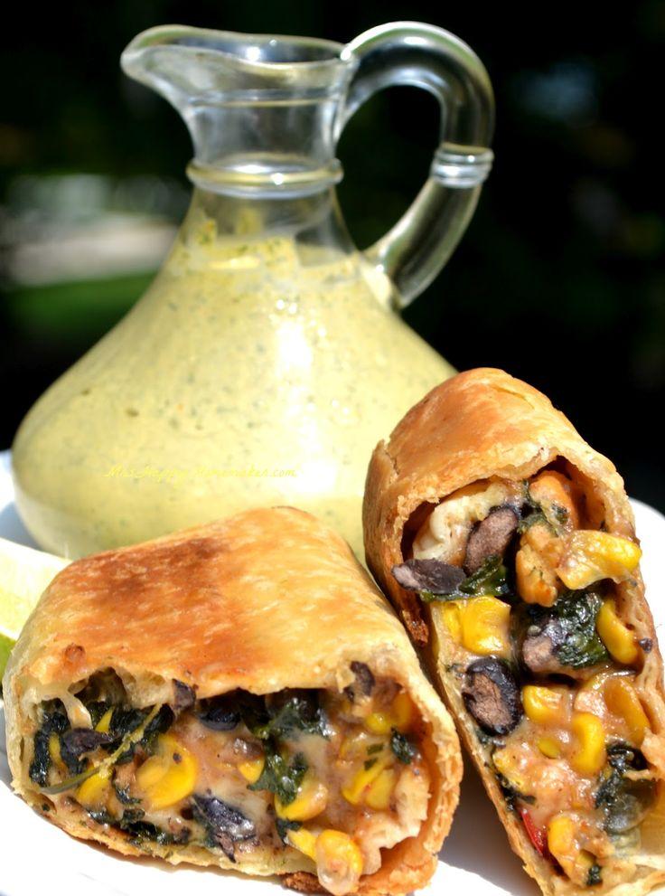 Southwestern Egg Rolls with Cilantro Cream Sauce! Sounds amazing!