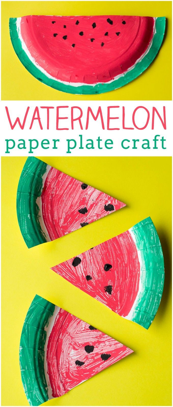 This watermelon paper plate craft is perfect for preschoolers! It makes a great summertime project, or you can pair it with a book like The Surprise Garden or The Very Hungry Caterpillar.