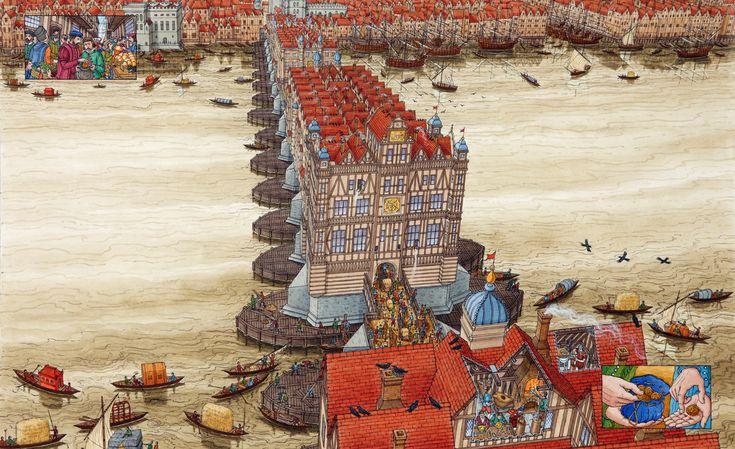 Stephen Biesty - London Bridge in 1559