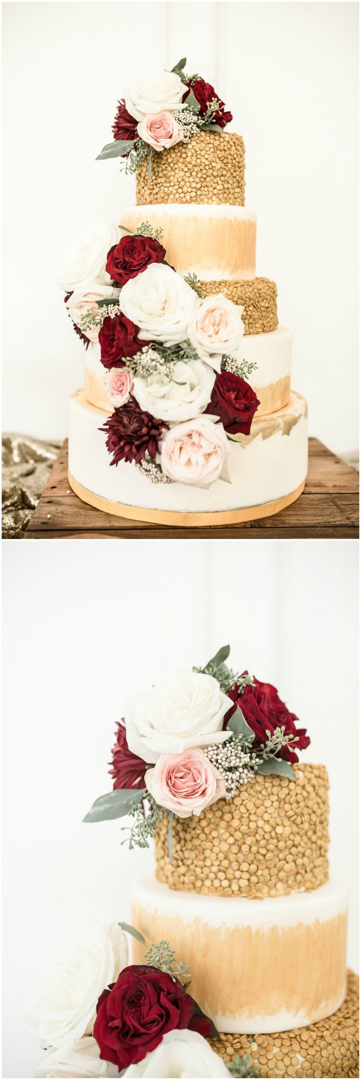 Wedding cakes, gold cake, tiered wedding cake, wedding cake with roses and seeded eucalyptus, elegant wedding cake ideas, follow this board for more wedding cake and dessert inspiration // Leslie Perkins Photography