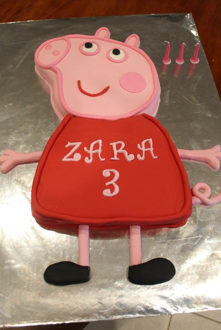 Peppa pig cake I made for my daughters 3rd birthday