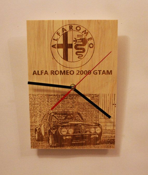 Check out this item in my Etsy shop https://www.etsy.com/listing/511091999/wooden-wall-clock-alfa-romeo-2000-gtam