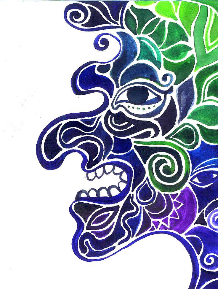 Javanese Wayang Kulit puppet, Jáva, WAYANG, figure, blue, green, face, organic motif, ancient culture
