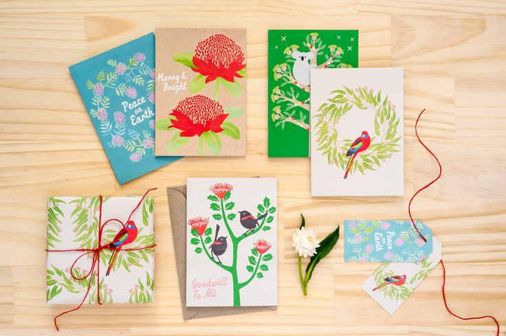 Christmas cards and wrapping paper by Earth Greetings.  Made in Australia from 100% post-consumer waste and Accredited Carbon Neutral.
