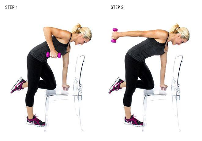 TRÍCEPS:  Rodillas extensión de tríceps: Curva de su cadera y apoyar la rodilla derecha en un asiento de la silla con su abdominales contraídos. Sostenga la pesa en la mano izquierda con un ángulo de 90 grados en el codo. Mantenga la mancuerna cerca de su torso y en línea con el hombro. Extienda la mancuerna con la mano izquierda hacia atrás hasta que su brazo es recto. Volver a la posición inicial y repita durante 30 segundos y luego cambie de lado por otros 30 segundos.