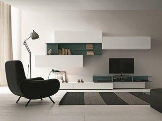 Parete attrezzata componibile fissata a muro con porta tv I-modulArt - 270B