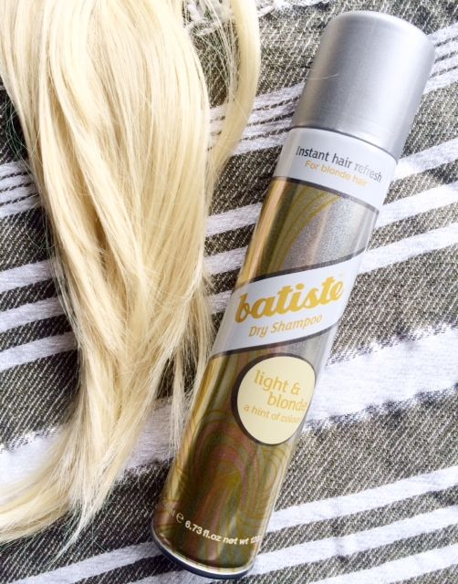 Batiste Dry Shampoo Light & Blonde - I didn't like dry shampoo until I found this baby. There is a scent but it fades within about 30 minutes so who cares. But! Spray it on my roots, let it sit for 3-5 minutes, and then i comb it out! Helps cover up my slightly darker roots. If you don't comb it through you can definitely see blonde splotches so be sure to do so. Also, one can style as one normal does after. Doesn't dry my hair out by any means! I've even used it post blowdry for extra…