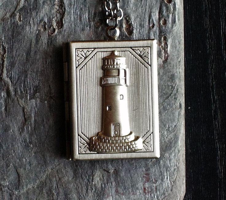 Lighthouse book locket necklace
