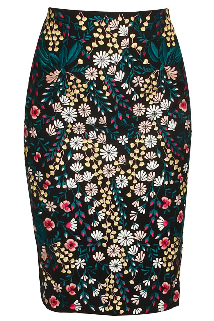 Black floral embroidered pencil skirt by Kukoon.