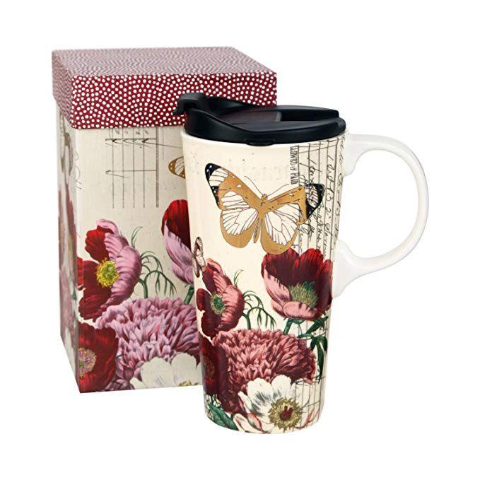 Ceramic Travel Cup 17 Oz With Gift Box Ceramic Mug Red Flowers