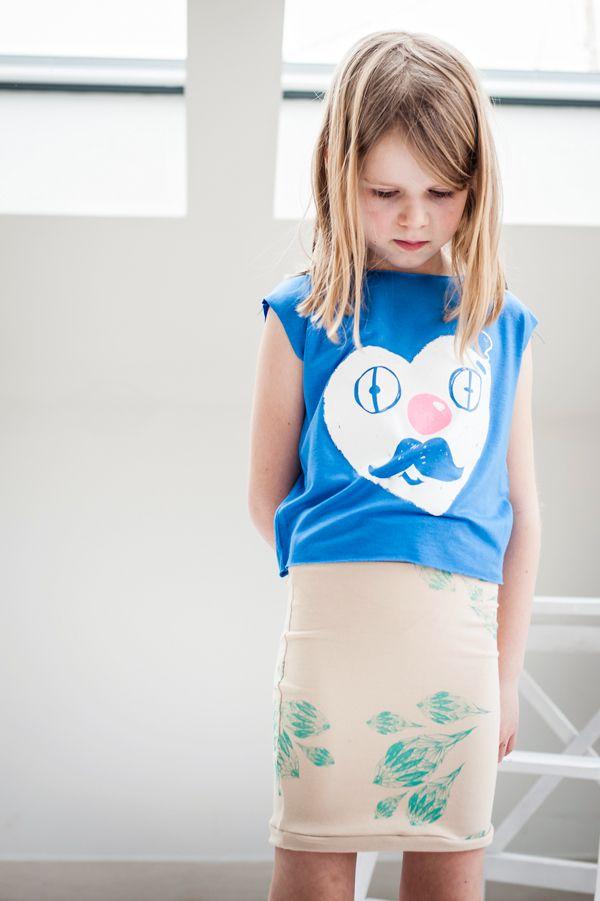 hand printed mini skirt and t-shirt