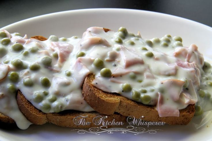 Creamed Chipped Ham (Beef) on Toast - SOS, chipped beef on toast, sos, creamed beef and peas, bechamel sauce, epicurious, comfort food