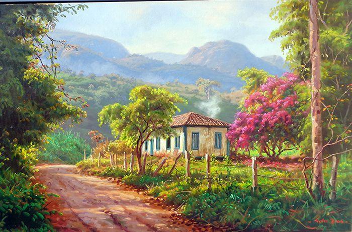 """Tulio Dias """"Na Beira da Estrada"""" 55x85-Óleo sobre tela-2015 --------------------------------------------------------------..."""