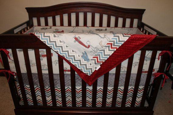 Baby boy crib bedding vintage airplane pewter chevron and gray crib bedding ensemble - Airplane crib bedding sets ...