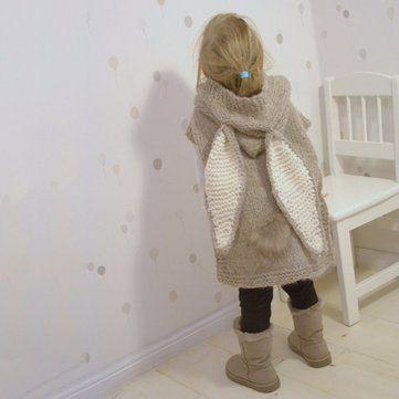 Cute Big Rabbit Ears Sleeveless Hooded Long Knitted Sweater at Banggood