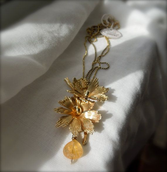 Repurposed Vintage Brooch/ Citrine Drop & Ball by StellaMargaritis, $35.00