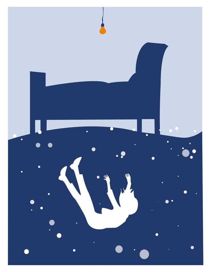 """Chute onirique, Illustration sur le rêve lucide. Inspiré par """"My Skin is Pale, My Soul is Blue"""""""