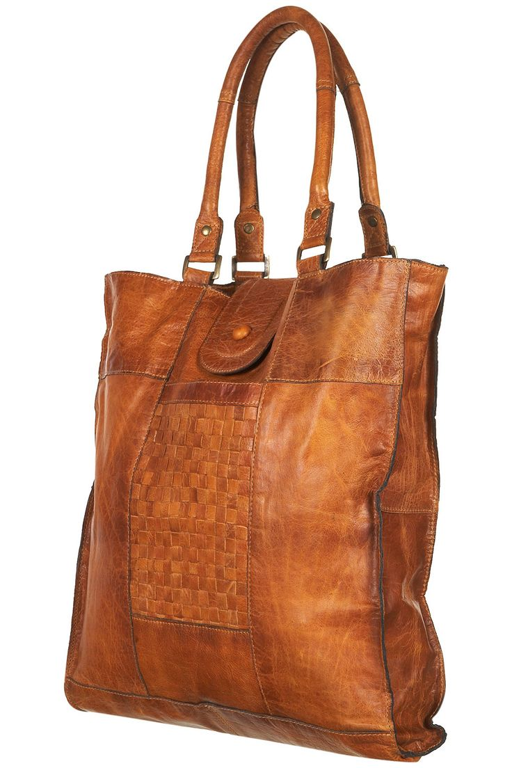 Topshop Leather Woven Panel Tote Bag in Brown (tan) | Lyst