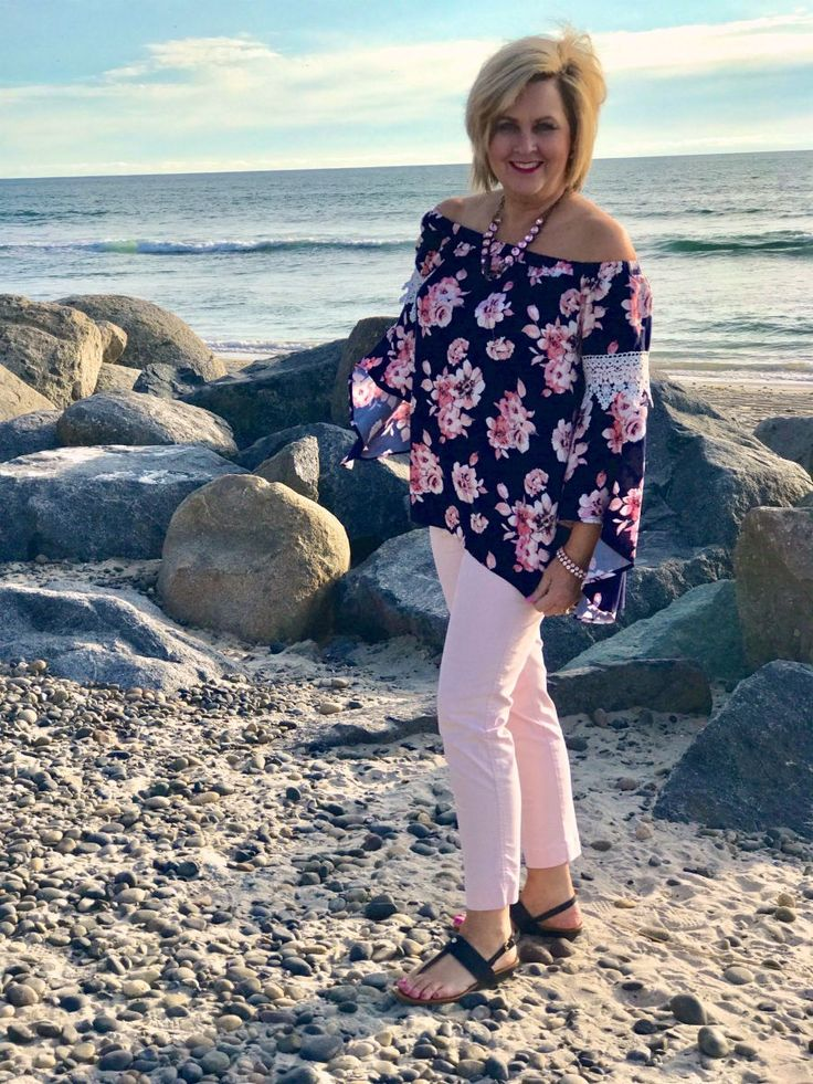 50 IS NOT OLD | FLORALS AND PALE PINK | Off The Shoulder Top | Vacation outfit | Spring | Beach Look | Fashion over 40 for the everyday woman