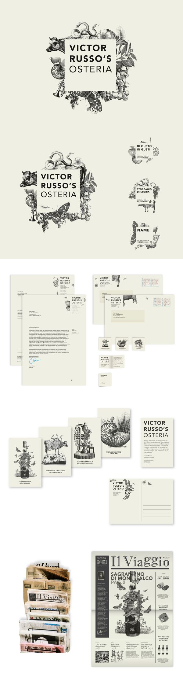 Total Identity design for Victor Russo's Osteria https://www.behance.net/gallery/Victor-Russos-Osteria/6167787