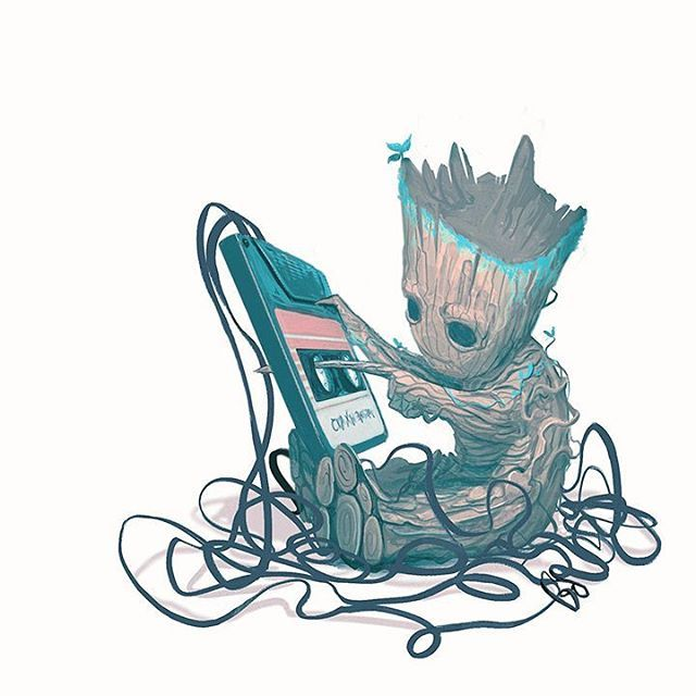 "Baby Groot, Guardians of the Galaxy Volume 2 - Mike del Mundo (@deadlymike) on Instagram: ""#IAMGROOT #babygroot #groot #mixtape #gotg #gotgvol2 #guardiansofthegalaxy…"""