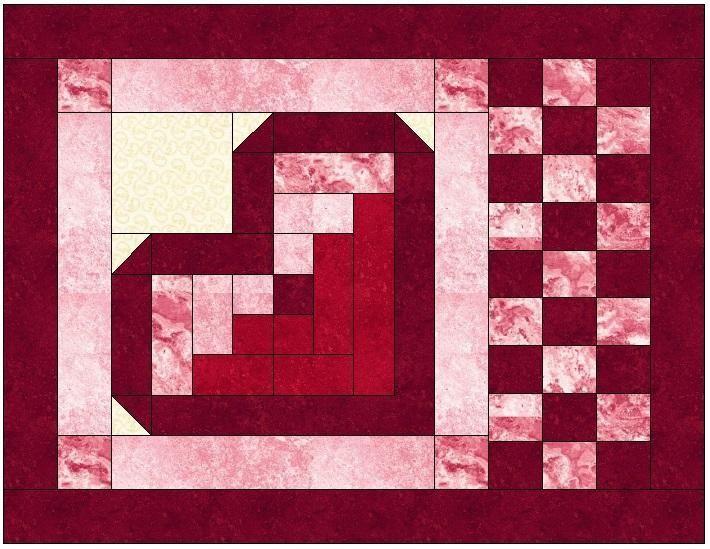 Log Cabin Heart Quilt Block Pattern Heart Quilt Pattern