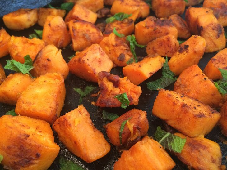 Maple and Cinnamon Glazed Sweet Potatoes Recipe Side Dishes with sweet potatoes, olive oil, lemon juice, maple syrup, salt, cinnamon, fresh mint
