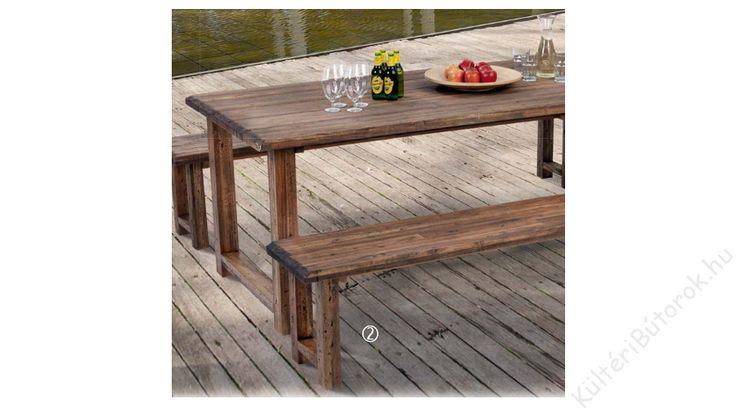 Lucia kerti pad:  - akácfa lábak és asztallap régies hatású felületkezeléssel -foltos barna szín, szélein rusztikus hatás -hossza 240 cm
