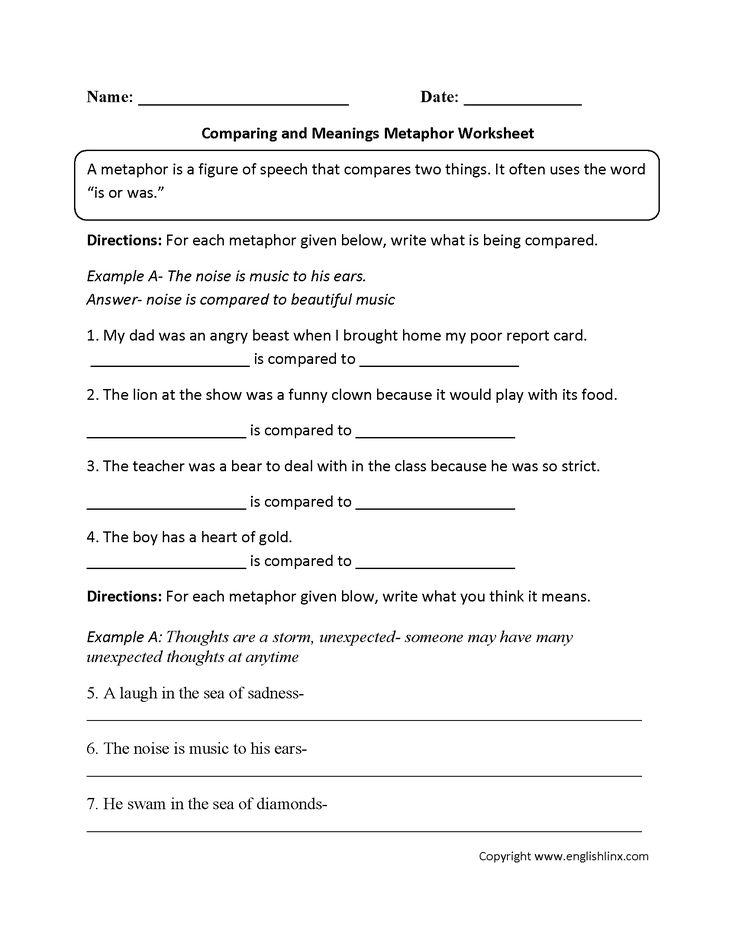 Comparing And Meanings Metaphor Worksheet Anchor Papers