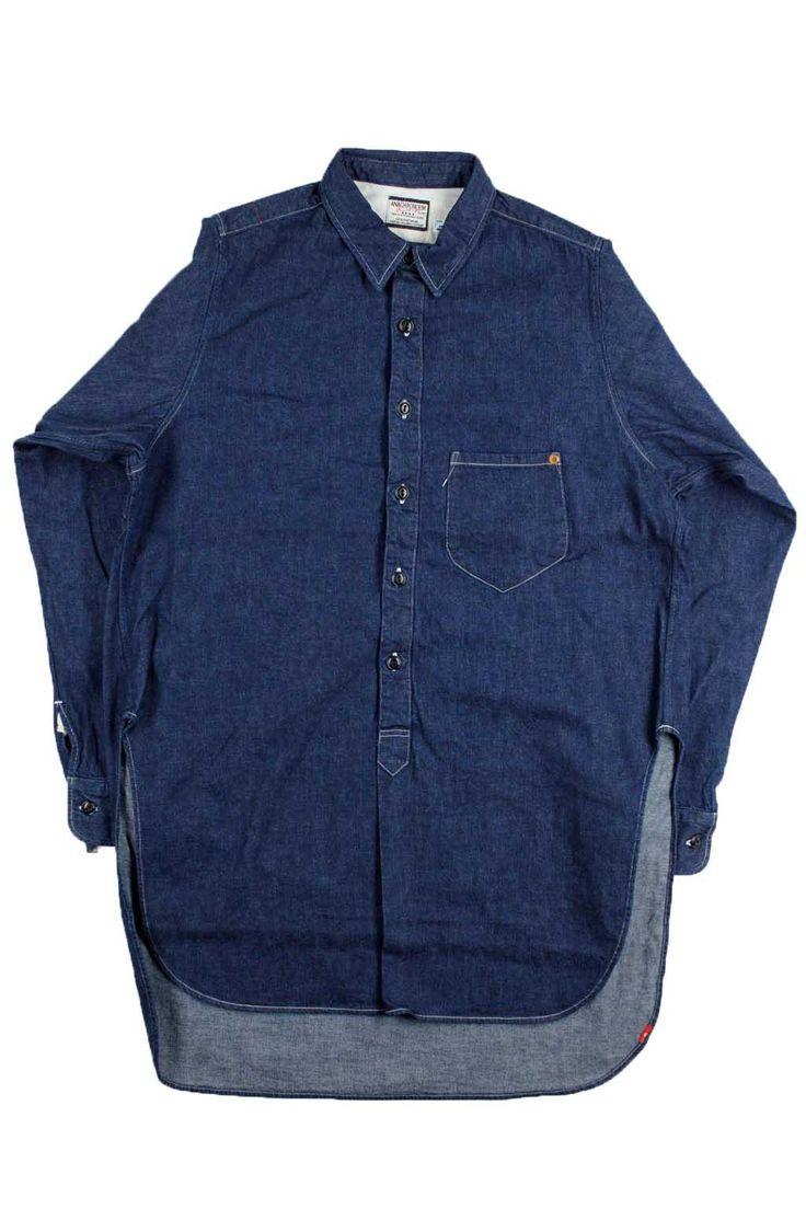 Anachronorm Denim Pullover Long Shirt - Indigo